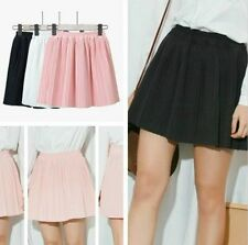 Womens Chiffon Pleated Skirt Elastic Waist Casual Skater Flared Mini Skirt New