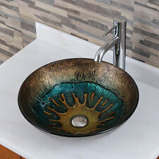 Volcanic Pattern Tempered Glass Bathroom Vessel Sink With Faucet