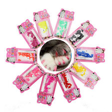 New 20pcs Soft Cat Pet Nail Caps Claw Control Paws off + Adhesive Glue Size XS-L