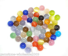 Wholesale Lots Mixed Cat's Eye Glass Round Beads 8mm