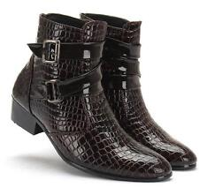 UK Mens Pointed Toe Crocodile Cowboy Patent Leather Ankle Boots Shoes New Size 9