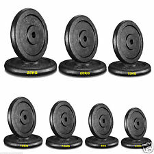 "Black Cast Iron Weight Plates 1"" Disc Dumbbell Barbell Bar Weights Plate-"