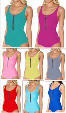 Women's Sexy One Piece Zipper Beachwear Solid Color Swimwear Swimsuit