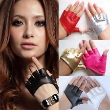 Woman Girls Half Finger PU Leather Gloves Fingerless Driving Show Pole Dance