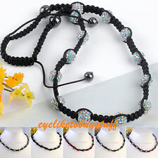 Adjustable Colorful Round Hematite Crystal Disco Beads Hip Hop Woven Necklace EY