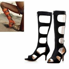 New Gladiator Ladies Tall Knee High Shoes Womens High Heels Sandals New Sizes