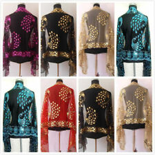 Hot Sale New Chinerse Lady Women Beaded Sequin Shawl/Scarf Wraps Peacock&Flower