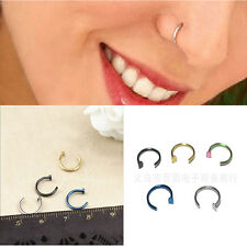 2pcs Stainless Steel Nose Open Hoop Ring Earring Body Piercing Studs Jewelry New