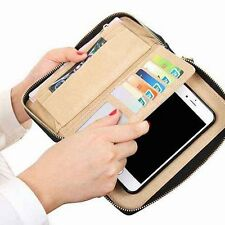 Zipper PU Leather Flip Phone Case Cover Wallet Card Holder Bag For iPhone Galaxy
