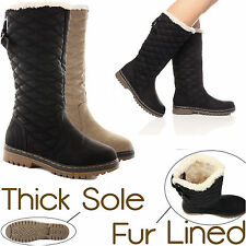 Ladies Womens Quilted Faux Fur Lined Thick Sole Mid Calf Boots Shoes Size New