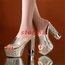 New Womens Shiny Glitter Block High Heel Platform Open Toe Slippers Mules Shoes