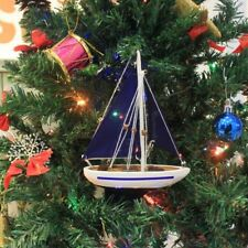 """9"""" Wooden Sailboat Model with Red Sails Christmas Tree Ornament"""