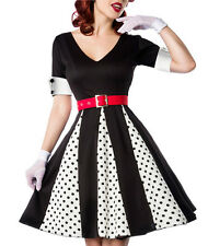 Ginger V-Neck Dress Black with White Black Polka Dot Pleat Inserts Retro & Belt