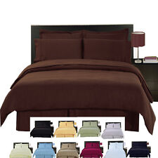 Super Soft 100% Microfiber 8-Piece Solid Bedding Set, Luxury Simple Bed in a Bag