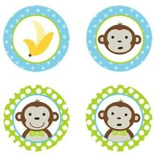 Mod Monkey Boy {Blue & Lime Green} Edible Cupcake Toppers Decoration
