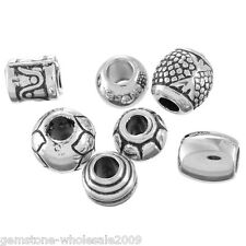 Wholesale Lots Mixed Silver Tone CCB Plastic Spacers Beads Fit Charm Bracelet