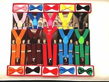 Suspender & Bow Tie Matching Colors Baby Toddler Kids Boys Girls Child Age 3~10