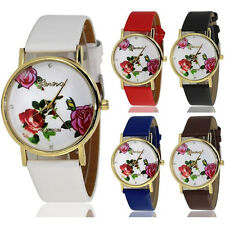 Women's Geneva Flower Print Faux Leather Band Watch Analog Quartz Wrist Watches