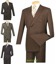 Men's Dress Suit Double Breasted 6 Buttons Classic Fit Pin Stripe Four Colors