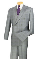 Men's Dress Suit Double Breasted 6 Buttons Classic Fit Gray Glen Plaid DRW-1