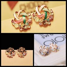 Fashion Women's Elegant Crystal Rhinestone Earring Korean Windmill Ear Stud Gift