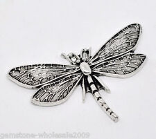 Wholesale Lots Silver Tone Dragonfly Charm Pendants 49x31mm