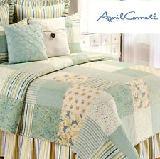 CORNELL APRIL SHOWER GREEN YELLOW BLUE FLORAL STRIPE PATCH F/QUEEN QUILT SET