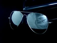 Large Mens Glass Reflective Mirror Lens Silver Frame Aviator Sunglasses UV400