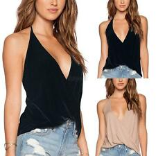 Summer Women's Halter Backless T-shirts Casual V-neck Vest Tank Top Blouse SML