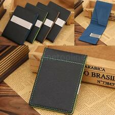 NEW Mens PU Leather Slim Silver Clip Money Clip Wallet Credit ID Card Holder