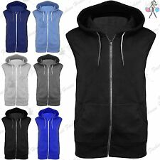 Mens Sleeveless Zip Up Gillet Hoodie Hooded Sweatshirt Lightweight Hoody Top