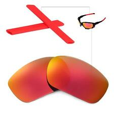 New Walleva Polarized Fire Red Lenses And Red Earsocks For Oakley Racing Jacket