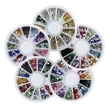 Nail Art 3D Glitter Rhinestone 12 Mixed Styles Colors Gems Tips Decoration Wheel
