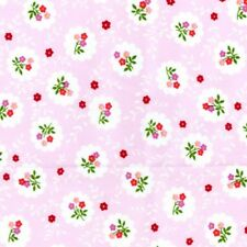 Flowers Floral Pink 100% Cotton Country Vintage Fabric For Crafting Dressmaking