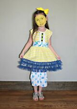 Girls Spring Summer Yellow Stripe Blue Polka Dot Ruffle Outfit Dressy Everyday