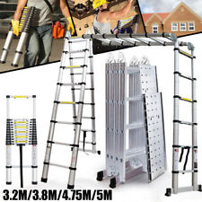 3.8M 4.7M 5.0M Multi-Purpose Aluminium Telescopic Ladder Extension Extendable UK