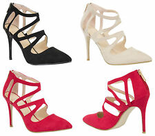 Womens Ladies Stiletto High Heels Cut Out Shoes Straps Pointy Sexy Sandal UK 3-8