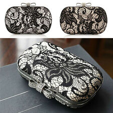 New Womens Lace Satin Bowknot Wedding Clutch Handbag Cocktail Evening Bag Purse