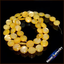 "9mm Natural Round Shape Gold Shell MOP Loose Beads Strand 15"" Jewellery Making"