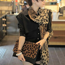 2016 Women Long Soft Wrap Lady Shawl Silk Leopard Chiffon Scarf Shawl Plush