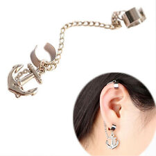 Vogue Rock Punk Anchor Tassel Earring Clip On Stud Hanging Earring Ear Cuff Cool