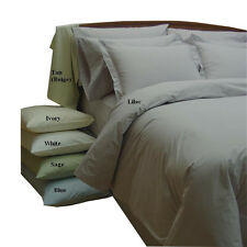 10PC Solid Ivory 100% Cotton Percale Bed in a Bag / Down Alternative Bedding Set