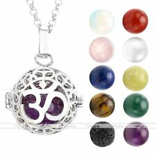Natural Stone Aromatherapy Yoga OM Locket Pendant Fragrance Diffuser Necklace