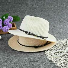 Summer Womens Fedora Straw Hat Wide Brim Braided Belt Beach Cap Panama Hat O0Y4