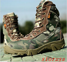 Fashion Men Outdoor Combat Camouflage Army Boots Climb Desert Shoes Lace Up New