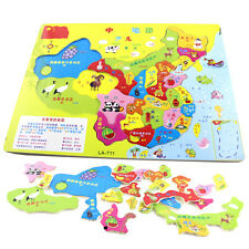 Children World & China Map Wooden Puzzle Jigsaw Toys Childhood Educational Game