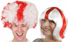 ST GEORGES SUPPORTER WIG LADIES MENS BOB OR AFRO WHITE RED CROSS FANCY DRESS