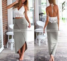 2 Piece Crop Top + Skirt Set Lace V-Neck Strap Vest Long Slim Pencil Skirt Dress