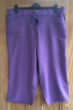 Evans Brand New  Purple Lilac Linen Cropped Elasticated Trousers 18 -22
