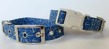 Anchors Away Nautical Dog Collar, Sep Leash Opt, 100% Cotton, Choice of Buckle